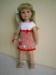 Вязаные платья спицами для кукол