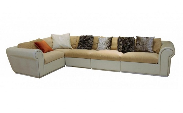 VIG Crocodile Leather Sectional Sofa