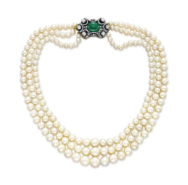 Three Strand Natural Pearl Necklace