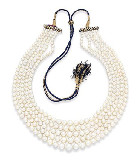 Five Strand Natural Pearls