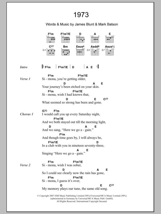James blunt 1973 chords