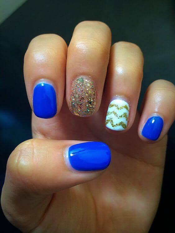 Blue, Chevron, and Glitter Shellac Nail Designs