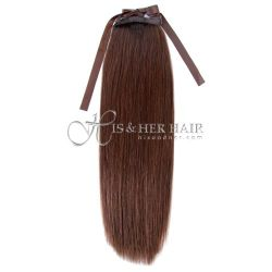Ponytail Human Hair-Natural Perm Straight 14