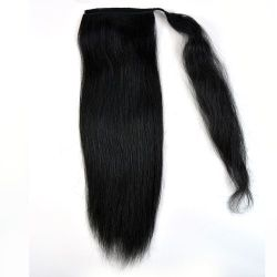 Human Hair Wrap Around Ponytail - Natural Perm Straight 16
