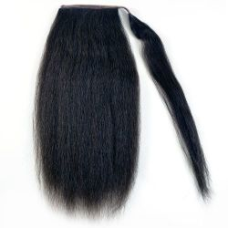 Human Hair Velcro Ponytail - Kinky Straight 16