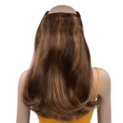 French Bodywave Clip on Set, Color #B4/6/33D, Med Brown / Light Brown / Light Auburn  100% Human Hair, ITALIAN MINK®