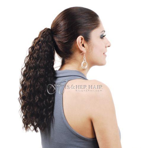 """Ponytail Human Hair-Water Wave 16"""""""