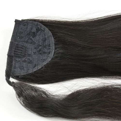 Human Hair Velcro Ponytail - Natural Perm Straight 16""