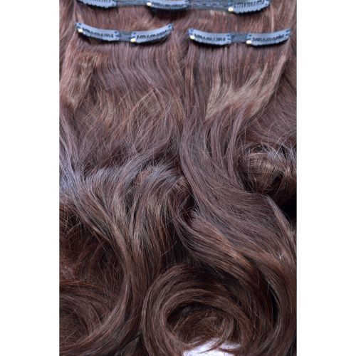 "French Bodywave Clip on Set, Color #3M, 18"" Dark Medium Brown(Mahogany) 100% Human Hair, ITALIAN MINK"
