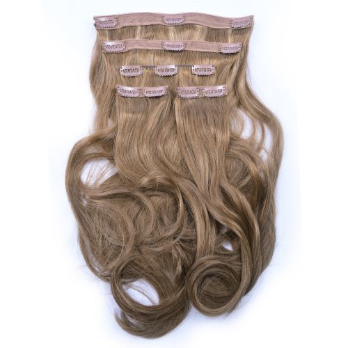 French Bodywave Clip on Set, Color #B6/27, Mixed Brown.  100% Human Hair, ITALIAN MINK
