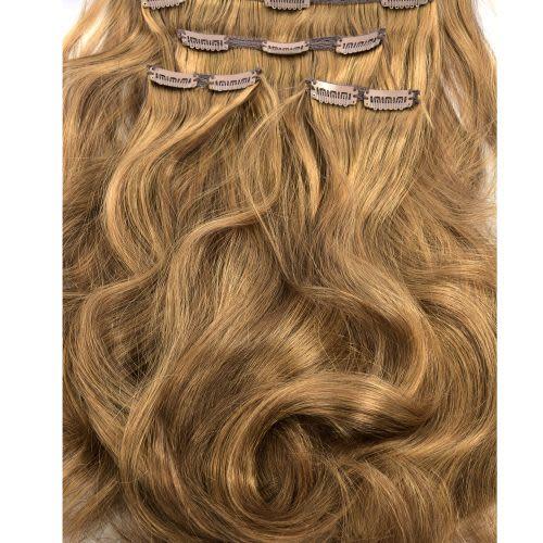French Bodywave Clip on Set, Color #6/33D, Light Brown / Light Auburn.  100% Human Hair, ITALIAN MINK®