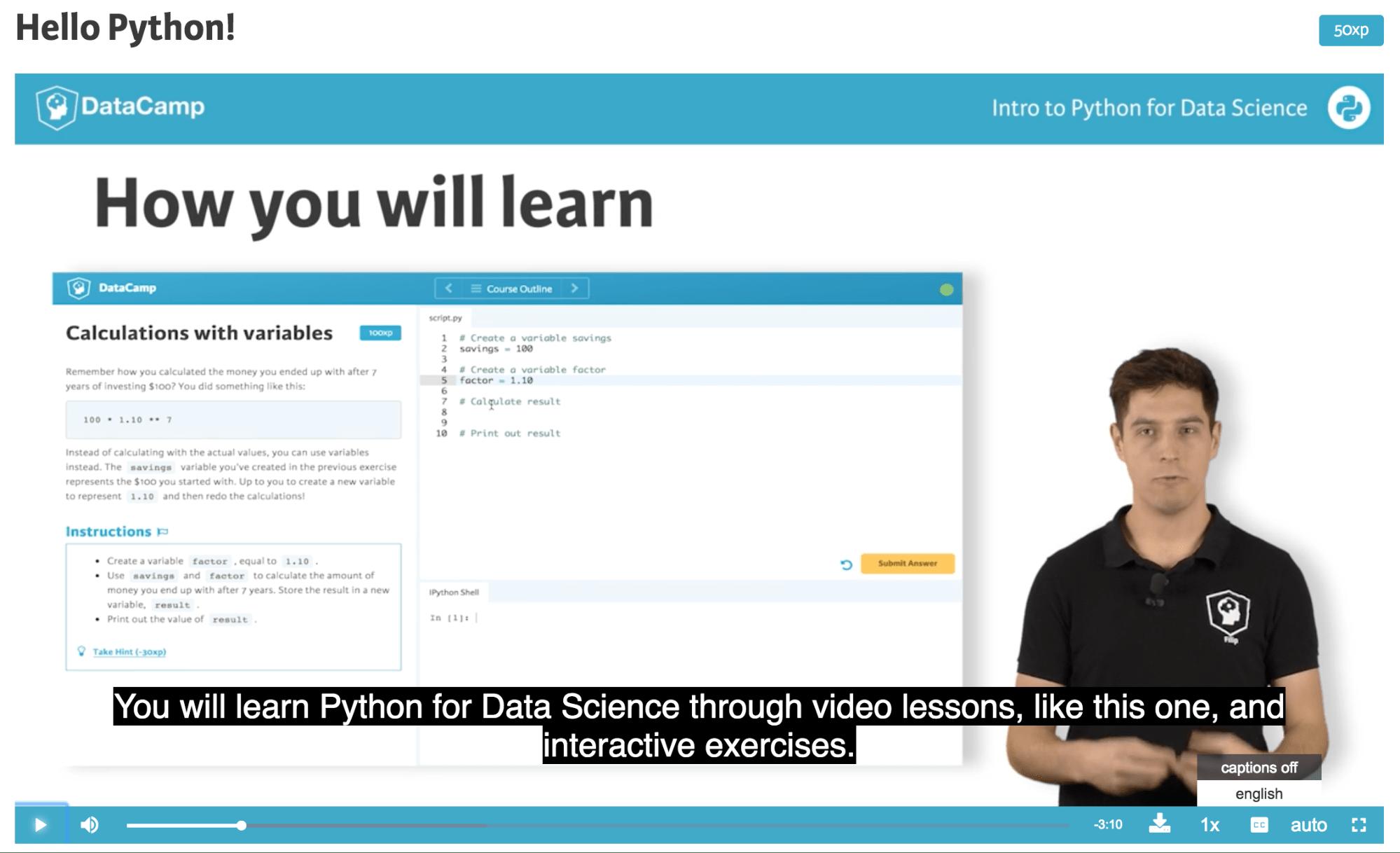 DataCamp courses subtitles
