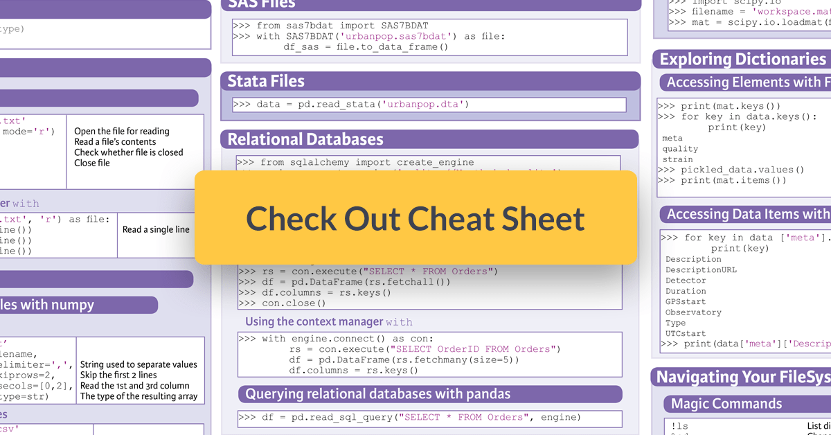 data import python cheat sheet