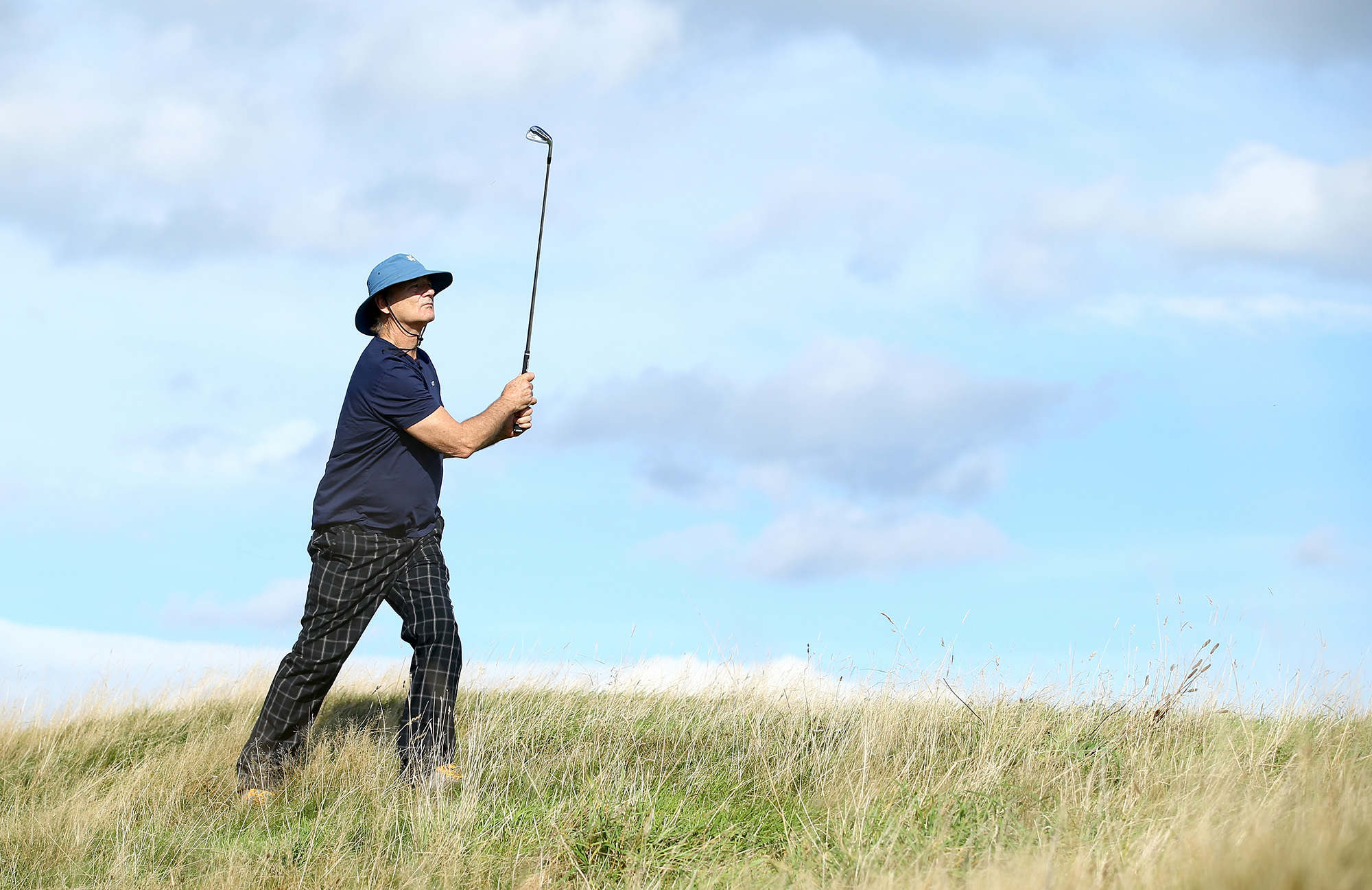 ST ANDREWS, SCOTLAND - SEPTEMBER 30: Hollywood star Bill Murray in action during the practice round prior to the 2014 Alfred Dunhill Links Championship at The Old Course on September 30, 2014 in St Andrews, Scotland. (Photo by Richard Heathcote/Getty Images) *** Local Caption *** Bill Murray