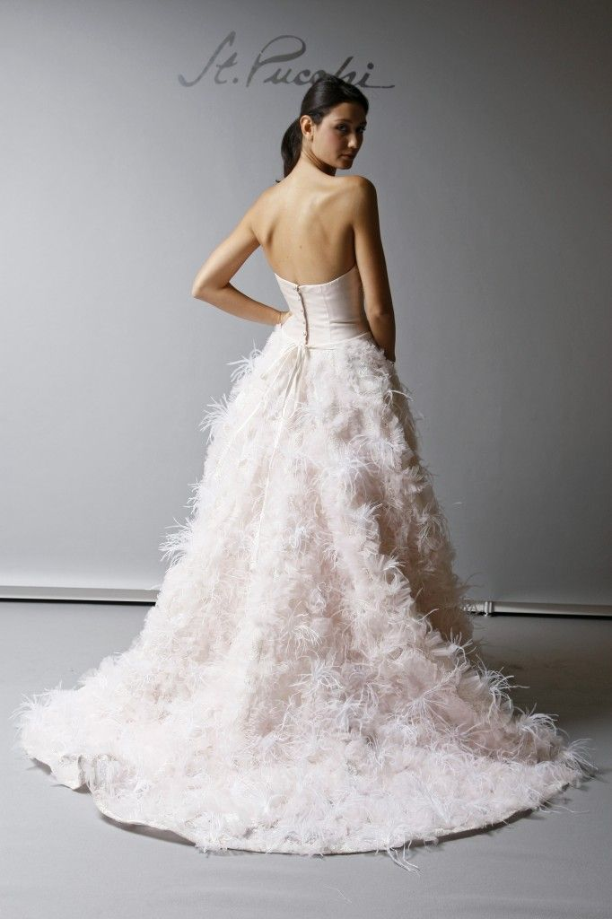 Vera wang feather wedding dress