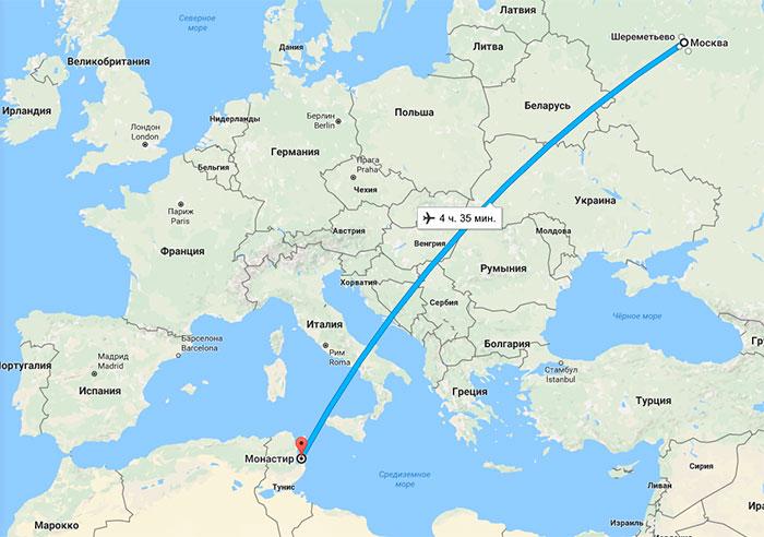 Сколько лететь из джербы в москву
