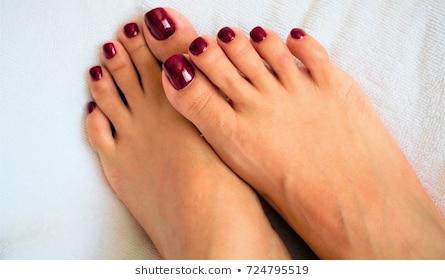 Painted toenails women