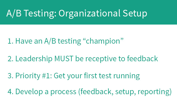 A/B testing: organizational setup
