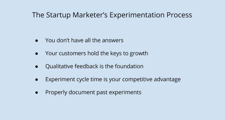 Startup Marketer's experimentation process