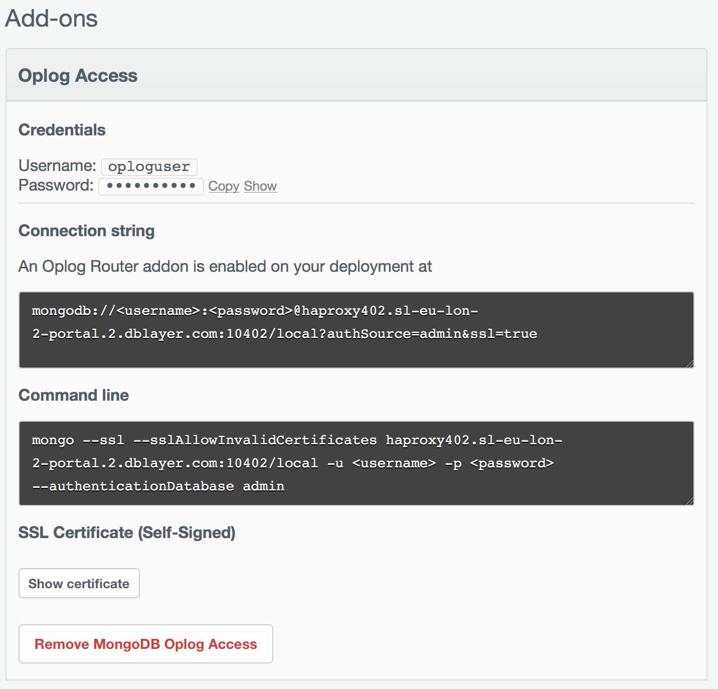 Oplog Access Config1