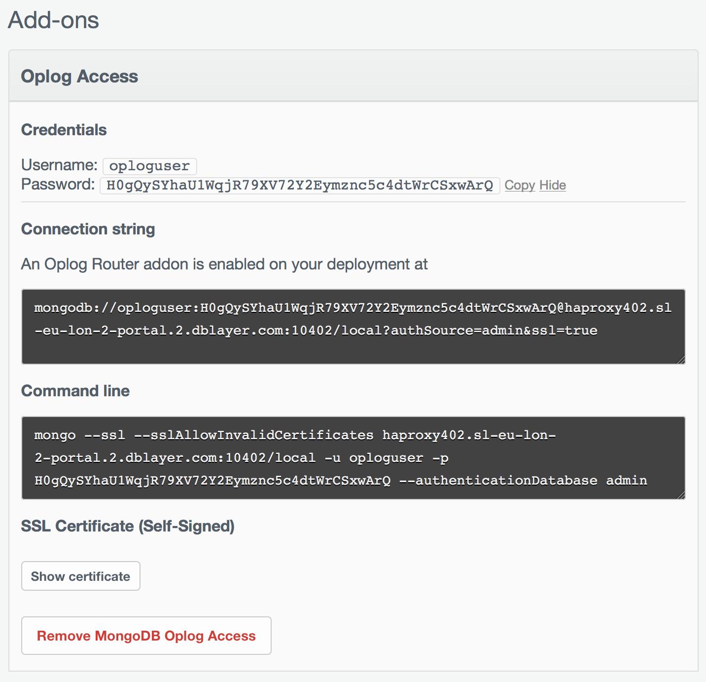Oplog Access Config2