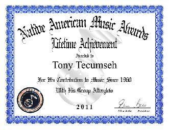 Tony's Native American Music Award for Lifetime Achievement