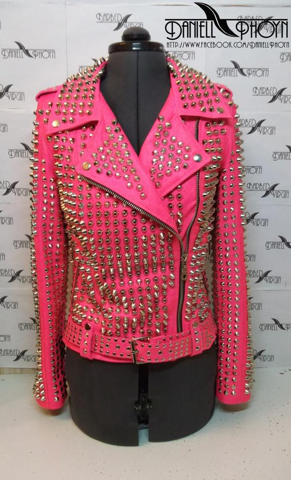 Katy perry pink studded leather jacket