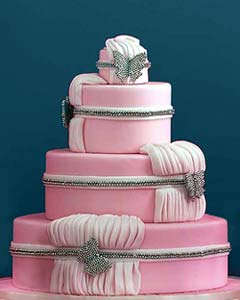 White wedding cakes with pink flowers