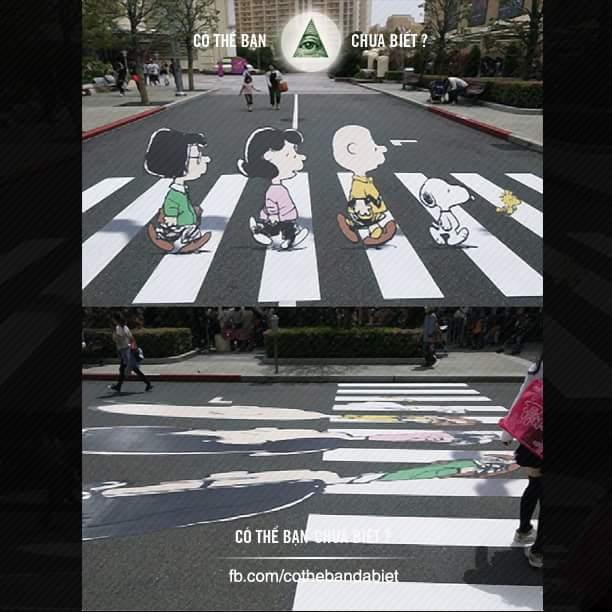 Bức ảnh 3D vẽ trên đường để các tài xế chú ý đoạn đường này cần phải giảm tốc độ quan sát...