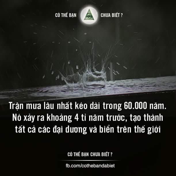 Trận mưa lâu nhất kéo dài trong 60.000 năm.
