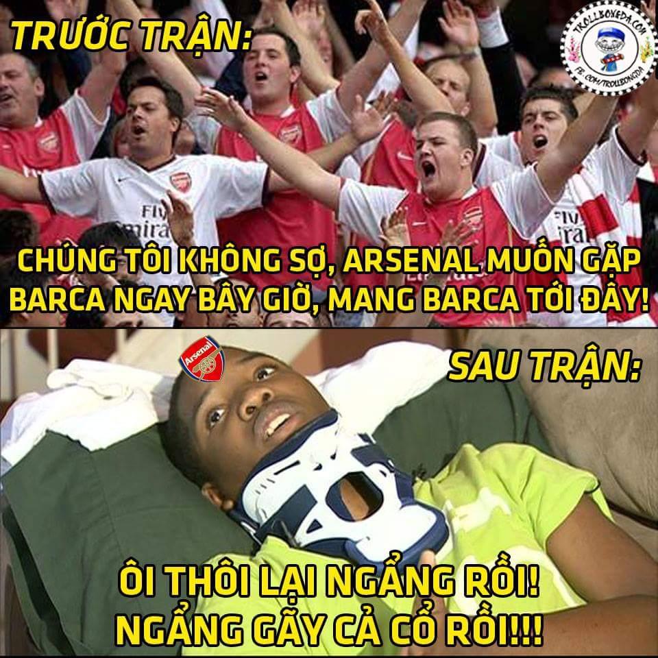Fan Barca quẩy xong chưa ạ? :))) cho hỏi tình hình đốt sống cổ của fan Arsenal như nào rồi ạ...