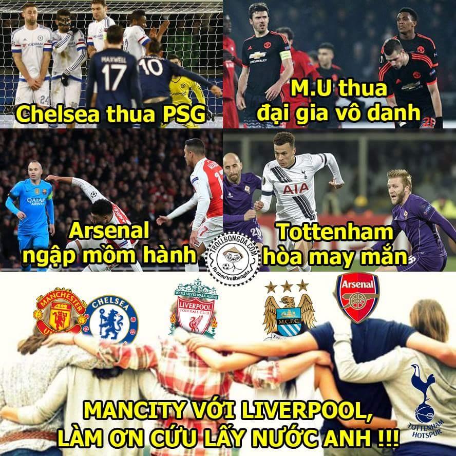 Bóng đá Anh ngày càng nát, mùa sau chắc còn 3 đội đá Champions League thôi ...