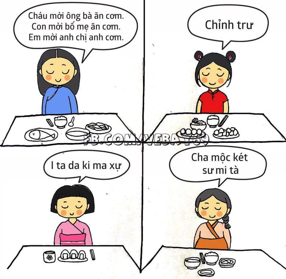 Mời ăn cơm bằng các thứ tiếng. :v