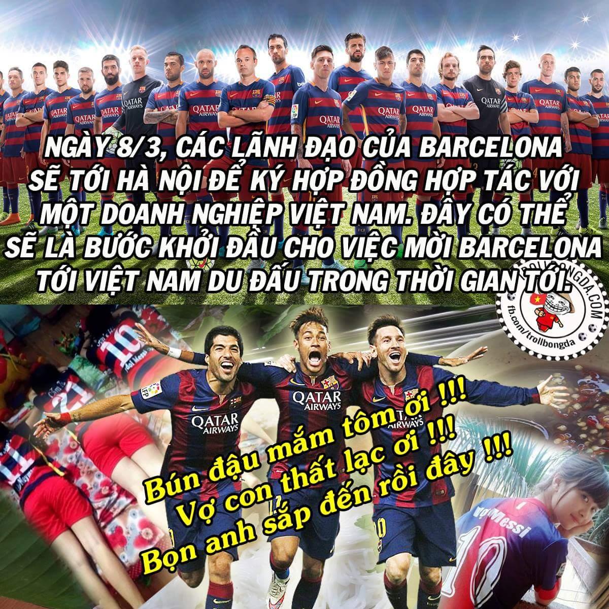 Giấc mơ sang Việt Nam của nhiều ngôi sao Barca sắp thành hiện thực. :v Các bạn có thấy sôi...