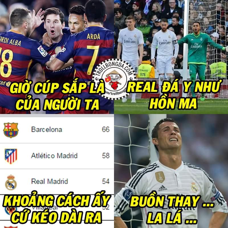 Khoảng cách giờ là 8 điểm với Atletico và 12 điểm với Real. Thành Madrid đã đầu hàng chưa ?...