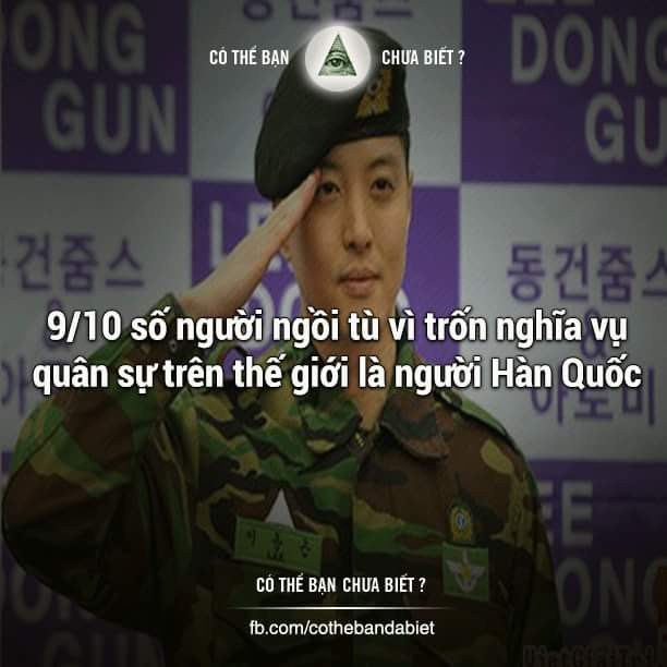 9/10 số người ngồi tù vì trốn nghĩa vụ quân sự trên thế giới là người Hàn...