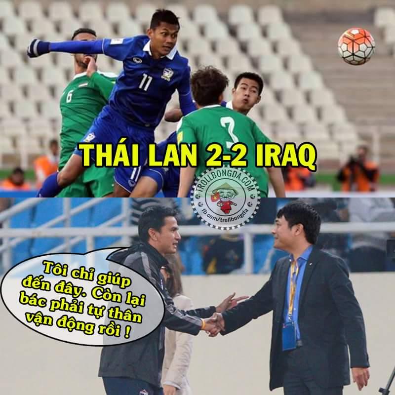 ĐT Việt Nam vẫn còn cơ hội vào vòng tới nếu thắng Iraq trận sau ! Cảm ơn các bác hàng xóm....