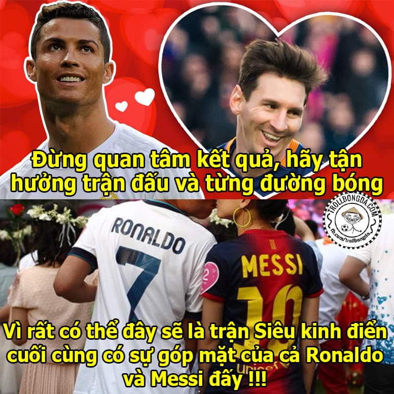 Dẹp qua mọi thù hận, tận hưởng bóng đá đi các bạn. ☺ #ElClasico #Ronaldo