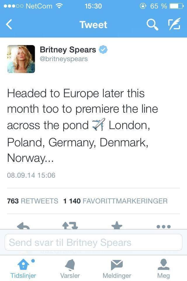 Vi kan endelig annonsere for dere at Britney kommer til Norge for å promotere Intimate Britney Spears!  We have known this for a while, but couldn't break it before the queen did it herself. Britney is coming to Europe and finally Norway! Who's excited? #Intimate Britney Spears