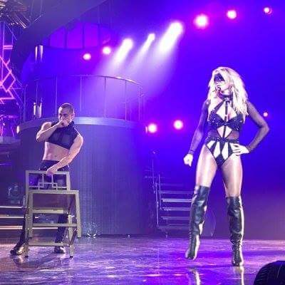 Britney wore a black sexy mask during Piece of Me last