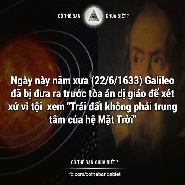 Trước tòa án dị giáo, ông đã thề rằng:   Tôi, Galileo ... thề rằng đã, đang và sẽ tin tưởng...