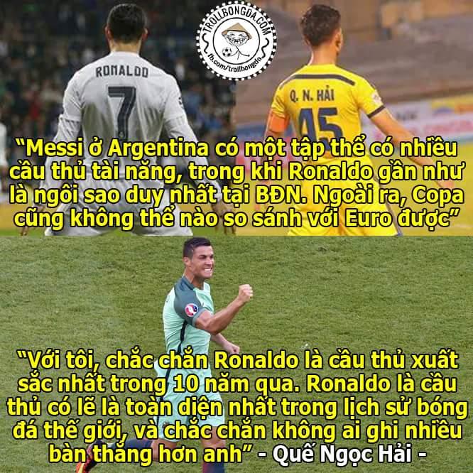 Quế Ngọc Hải nói về Ronaldo và Messi
