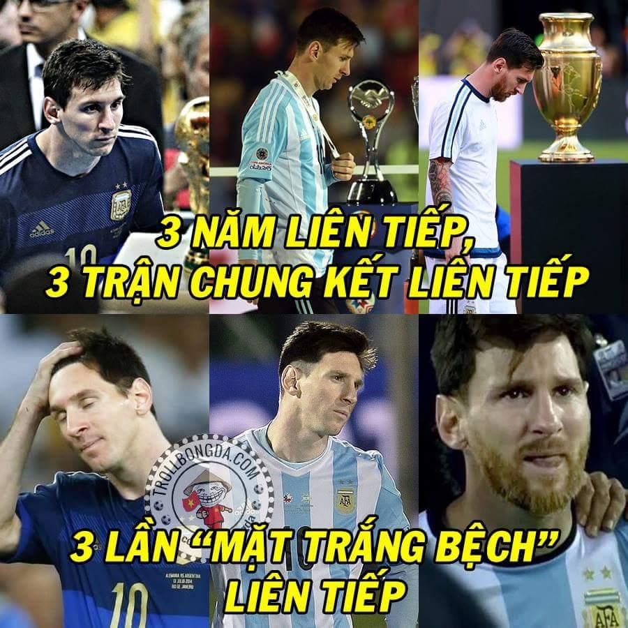 Số phận bao giờ mới mỉm cười với Messi? Anh sắp thành người trắng nhất hành tinh rồi. :/ ...