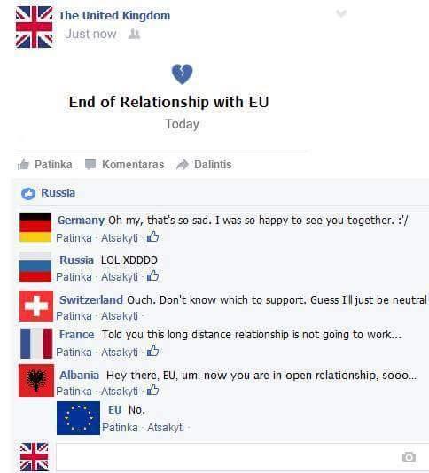 *Theo dòng thời sự*  **UK: Kết thúc mối tình với EU**  Đức: Ôi buồn thế. Tôi đã hạnh phúc biết...