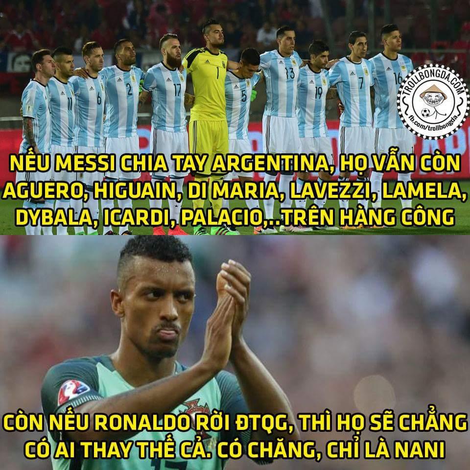 Messi rời ĐTQG cũng chưa chắc là thảm họa vì Argentina sao nhiều như kiến. Ronaldo rời BĐN mới...