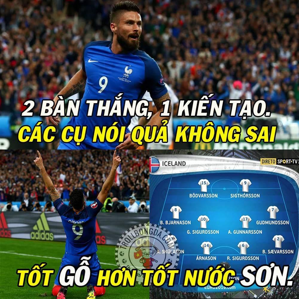 Hết giờ: Pháp 5-2 Iceland. Giroud trận này đá hay vậy mà bị thay ra sớm quá. :3 Ông thần...