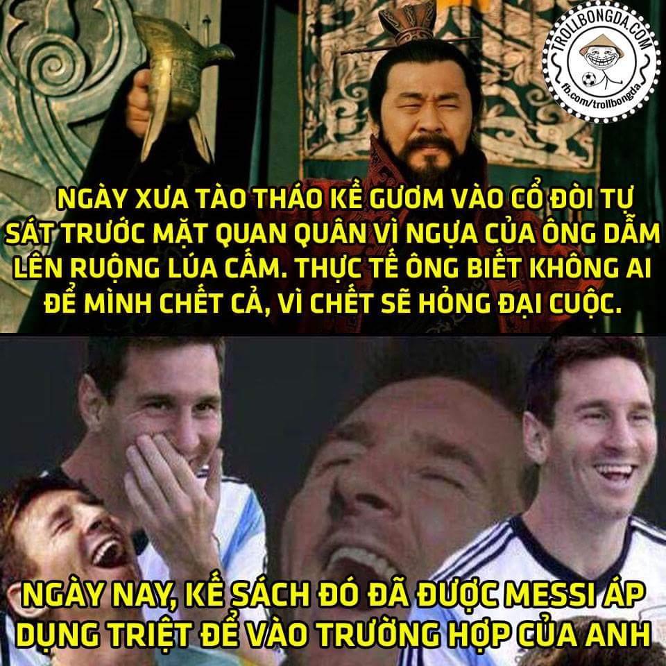 Messi không chỉ giỏi bóng đá mà còn thông thạo cả binh pháp Tam Quốc luôn, bái phục bái phục...