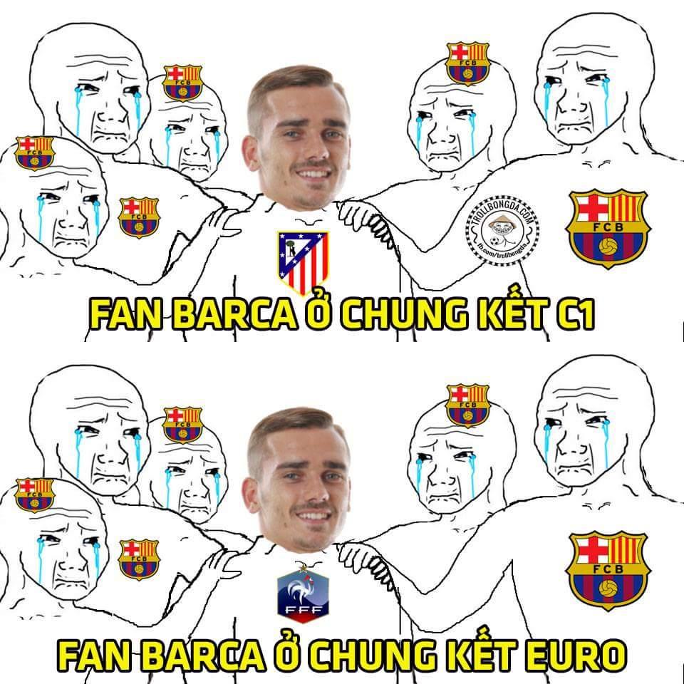 Griezmann sướng nhá lúc nào cũng được các fan Barca yêu quý :)))))))