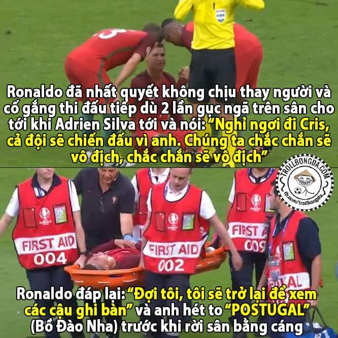 Tinh thần chiến đấu thật đáng nể, Ronaldo đã từng nói dù chỉ còn 1 chân tôi cũng sẽ ra sân...