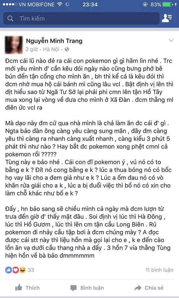 Đề nghị các bạn nam không chơi Pokémon Go nữa nhé ::)) Nhất là các bạn tên Tùng =))...